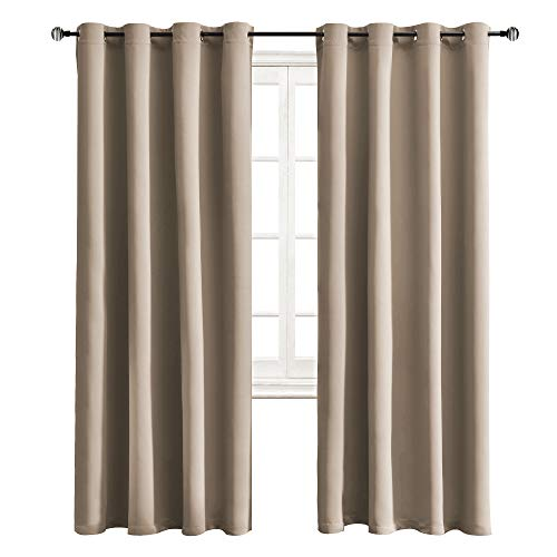 WONTEX Blackout Curtains Room Darkening Thermal Insulated with Grommet Curtains for Bedroom, 52 x 84 inch, Taupe, 2 Panels (Window Panel Taupe)