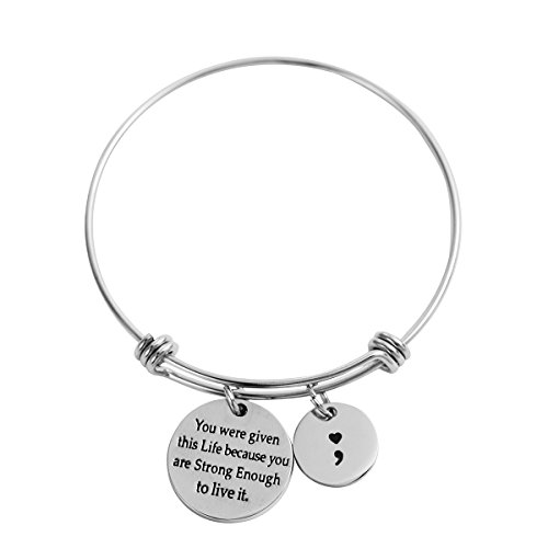 (HOFOYA Semicolon Bangle Brave Survivor Expandable Adjustable Wire Bangle Inspirational Meaningful Charm Bracelet (You were Given This Life -)