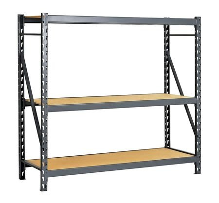 Edsal ERP962472S E-RACK Bulk Storage Rack with Particle Board Decking, Starter Type, 3 Shelves, 1800 lb. Capacity, 96'' W x 24'' D x 72'' H, Industrial Gray by EDSAL