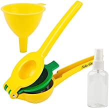 Ado Glo Manual Lemon Squeezer - Premium Quality Lime Juicer - Aluminum Citrus Juicer with Cooking Sprayer & Mini Funnel (Yellow)