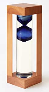 G. W. Schleidt STC7002-B Newton Glass 10 inch - 2 minute sand timer - Natural Wood Frame & Blue Bubble
