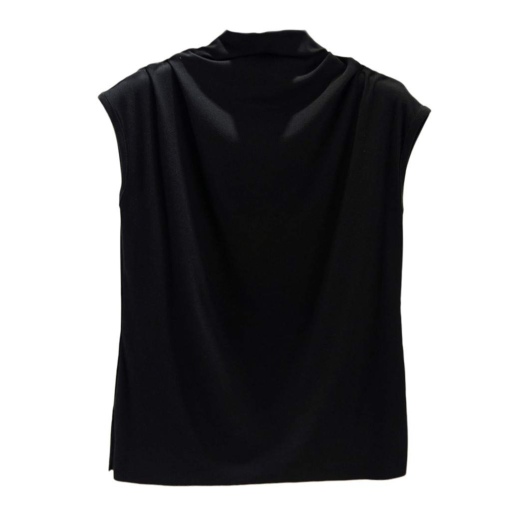 Libermall Women's Tank Tops Loose Fit Summer Solid Turtleneck Cotton Cami Vest Sleeveless Shirts Blouse Tops Black