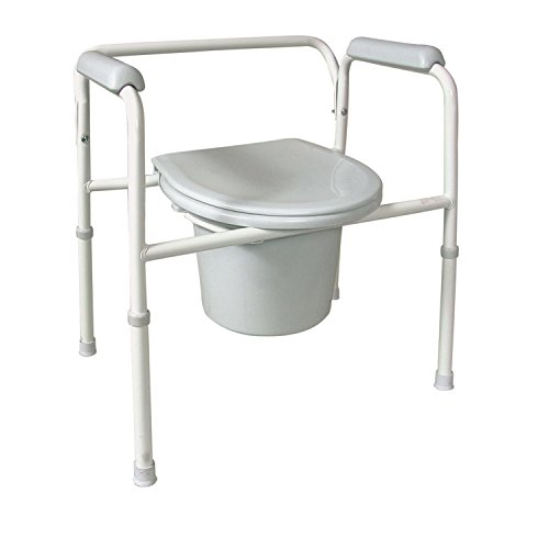 DMI Deluxe Steel Bedside Commode with Contoured Armrests, Removable Backrest and Lid, Adjustable Height, No-Tool Assembly by Duro-Med