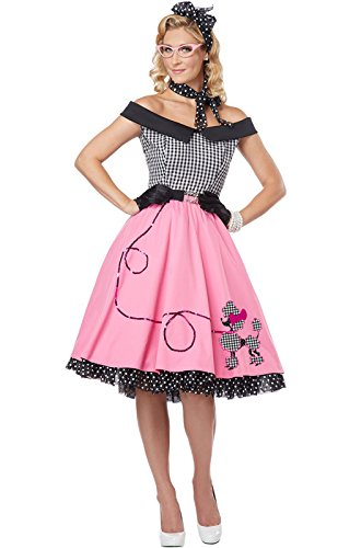 California Costumes Women's Nifty 50's Adult, Pink/White/Black, Large (Halloween Costumes 50s)