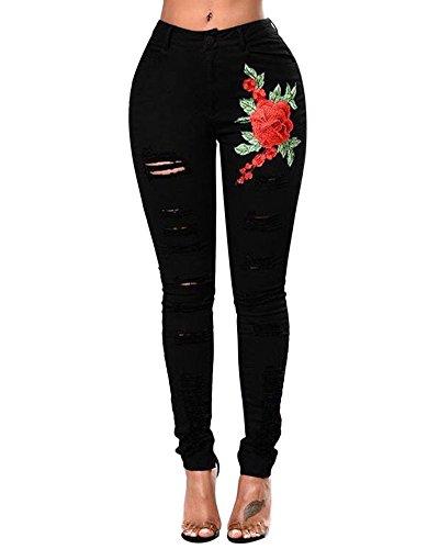 Dchir Jeans Taille Imprim Femme Trous Noir Haute Dcontract Pantalon Vintage Broderie UETFx7
