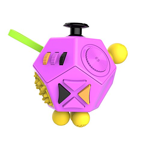 Balai 12 Sides Fidget Dice II Stress Cube - Relieve Stress Anxiety and Boredom (Purple)