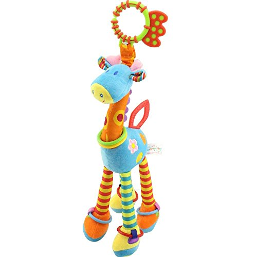 A Baby Giraffe Rattle - JAMSWALL Plush Giraffe Animal Baby Plush Toy Developmental Interactive Toy Infant Baby Development Soft Giraffe Animal Handbells Rattles Handle Toys Crib, High Chair Interactive Playing