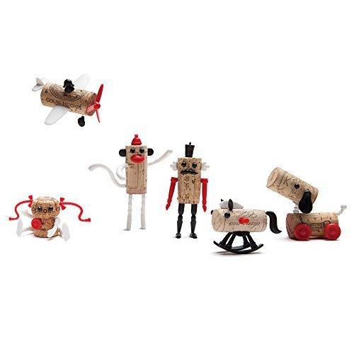 Corkers Classic Toys Wine Accessories, Novelty Gift, Pack of 6 Different Crafting Parts for Corks, by Monkey Business