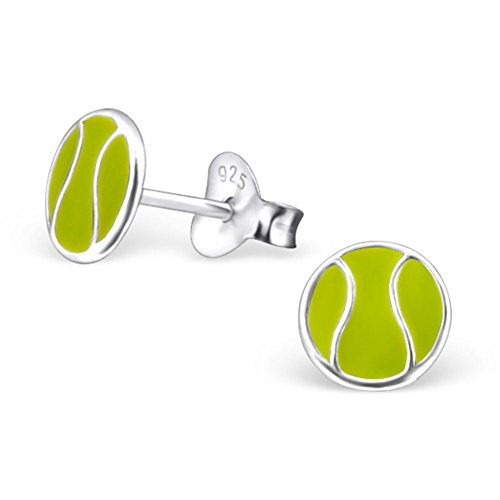 Price comparison product image Tennis Ball, Girls Earrings, Tennis Ball, Green, Stering Silver 925 Post Studs (E21839)