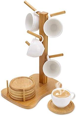 شجرة حامل أكواب خشبية متعددة الأغراض حامل لتجفيف المطبخ حامل فناجين القهوة عرض حامل للطاولة مع 6 خطاطيف Amazon Ae