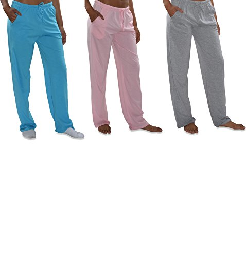 Sexy Basics Women's 3 Pack Soft Flex-Cotton Knit Pajama Pants/Lounge Pants/Sleep Pants (3 Pack-Pink/Tahiti Blue/Grey, Large) - Cotton Knit Pjs