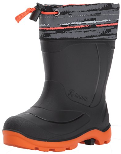 Kamik Children's Snow Boots (Kamik Kids' Snobuster2 Snow Boot, Charcoal/Orange, 2 Medium US Little Kid)