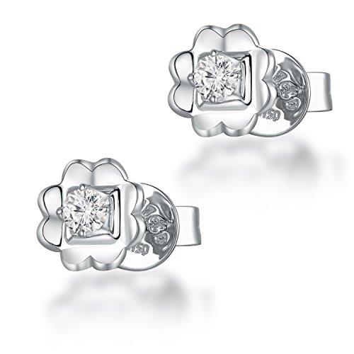 18K 750Or blanc avec un diamant fleur Boucles d'oreille à tige (0,15carat au total, G-H Couleur, Vs2-si1Clarté) Femme Bijoux Cadeau