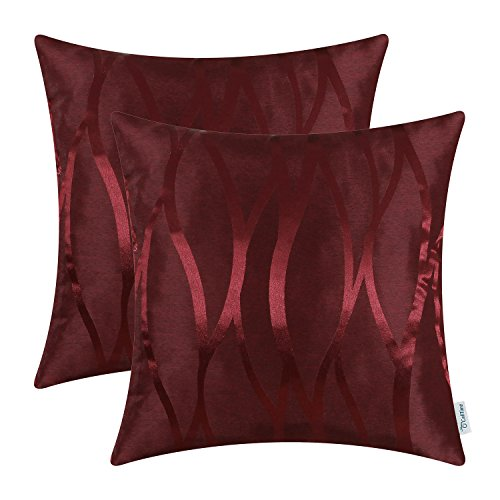CaliTime Pack of 2 Throw Pillow Covers Cases for Couch Sofa Home Decor Modern Shining & Dull Contrast Abstract Water Waves Lines Geometric 18 X 18 Inches Burgundy