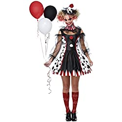 California Costumes Women's Twisted Clown Adult Woman, Black/White/red, Extra Large