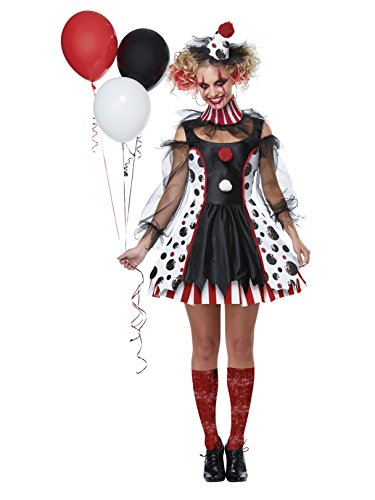 California Costumes Women's Twisted Clown Adult Woman Costume, Black/White/red -