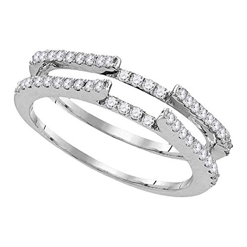 Jewels By Lux 14kt White Gold Womens Round Diamond Ring Guard Wrap Solitaire Enhancer 1/2 Cttw In Pave Setting (I1-I2 clarity; H-I color)