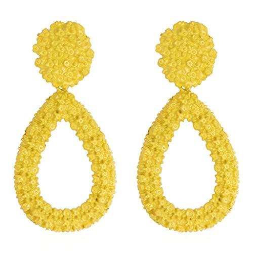 GahrchianTeardrop Pendant Earrings Long Alloy Hoop Earrings Stud for Women and Girls Party Wedding Dating Jewelry (Yellow)