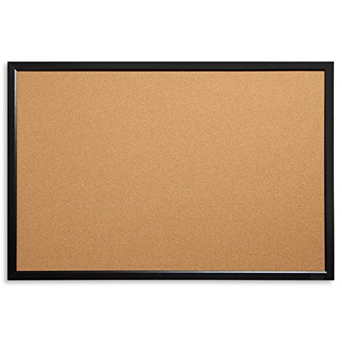 Blue Summit Supplies 24 Inch x 36 Inch Corkboard with Black Wood Frame, Bulletin Board with Included Push Pins for Office, Classroom, or Home, Mounting Hardware Included