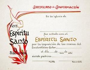 Certificado–confirmacion Espiritu Santo (Paquete de 6)
