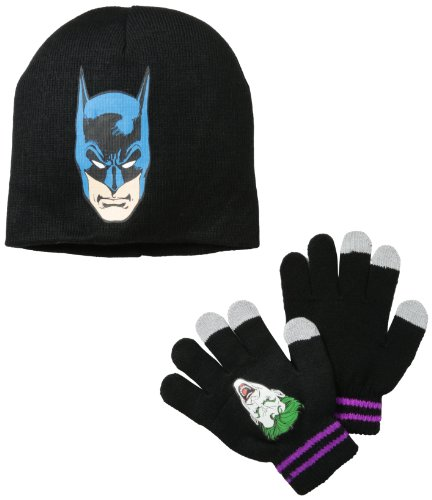DC Comics Little Boys' Batman And Joker Reversible Beanie And Glove Set, Black, One (Batman Gloves For Sale)