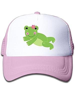 Boy&Girl Red Mesh Caps Trucker Baseball Hat Cute Frog
