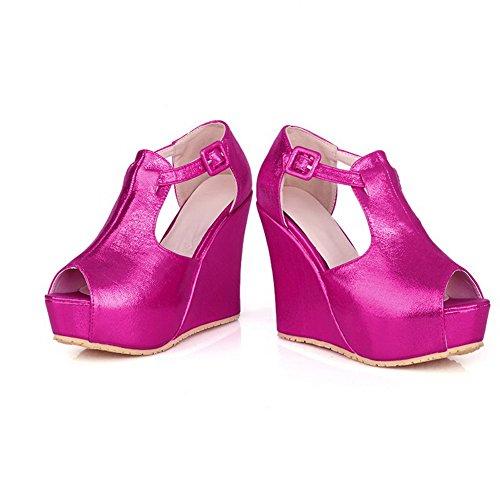 Toe VogueZone009 Womens Feste Pfirsich Keil Sandalen Material Plattform Open Peep Weiches PU mit Heel Schnalle High gpFnrptqw