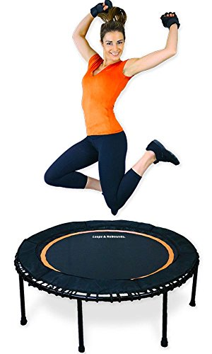 Leaps & Rebounds Bungee Rebounder - The Fun Fitness Rebounder Trampoline - Steel Frame, 32 Latex Rubber Bungees, Zero Stretch Jump Mat - Named Best Value Rebounder - 1 Year Warranty (Orange 48 Inches)