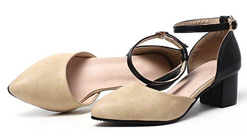Aisun Donna Comfort Dressy Punta Chiusa Punta Allacciata Blocco Tacco Medio Caviglia Dorsay Cinturino Sandali Scarpe Beige