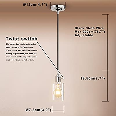 Pathson Industrial Factory Mini Downlight with 1 Head in Clear Glass Shade Design Vintage Simple Home Ceiling Light Fixture Flush Mount with Adjustable Textile Cord Pendant Light