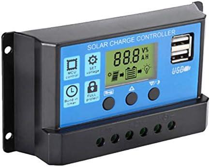 ROEAM Universal Solar Panel Controller, Batterieladeregler 12V / 24V Auto Mit Dual USB für DIY Solar Power,Überlastungsschutz Temperaturkompensation
