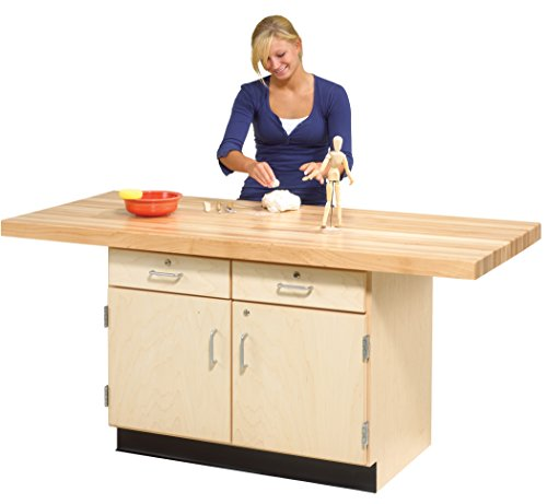 (Diversified Woodcrafts WW232-0V Solid Maple Wood 2 Station Workbench with 2 Doors and Drawers, Maple Top, 64