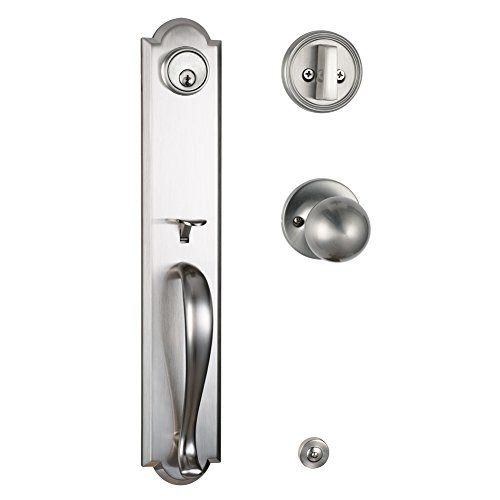 Single Cylinder HandleSet with Deadbolt and Knob Door Handle for Entrance and Front door Reversible for Right and Left handed Satin Nickel ()