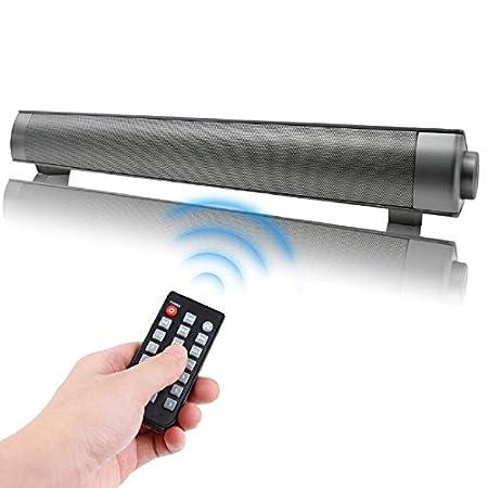QSPORTPEAK 10W Cine en casa Televisor Barra de Sonido Inalambrica TV Altavoces Portátil Soundbar Altavoz Inalambrico Bluetooth con Micrófono 3.5mm AUX ...