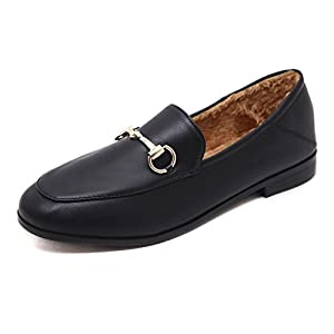 Meeshine Women's Leather Loafer Comfort Buckle Slip On Shoes