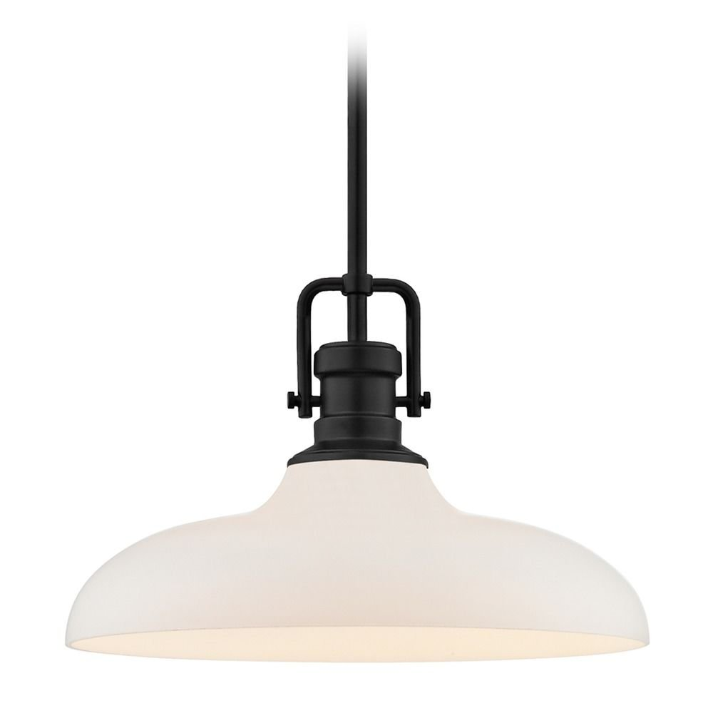 Industrial Pendant Light Black Finish 14-Inch Wide