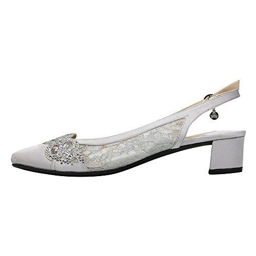 Satin Renee Low Slingback Faleece Women's Steel Gray Block J Heel Lace F7x6PvwPq