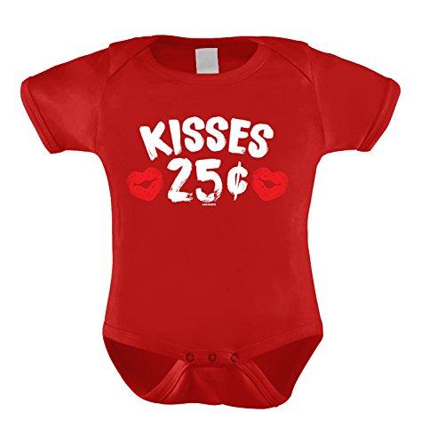 kisses 25 cents infant bodysuit red 6 months
