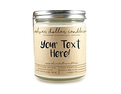 Personalized 8oz Handmade 100% Soy Wax Scented Candle by Silver Dollar Candle Co. Personalized Birthday Candle