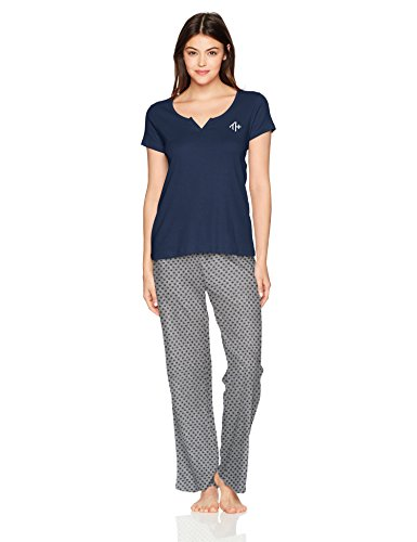 Pj Set Coat (Tommy Hilfiger Women's Short Sleeve Top and Pant Bottom Pajama Set Pj, Peacoat/School Foulard Navy, M)