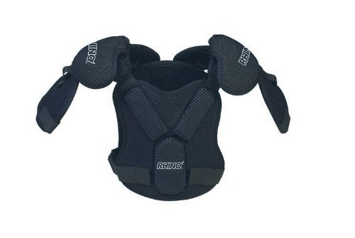 Champion Sports Rhino Lacrosse Set: Ultra-Lite Shoulder Pads, Arm Guards, Gloves and Chest Protector, Black, Small