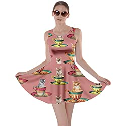 CowCow Womens Afternoon Tea Cat Coral Skater Dress, Coral - XL