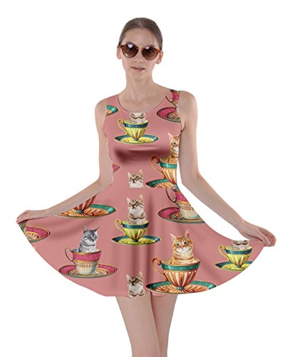 CowCow Womens Afternoon Tea Cat Coral Skater Dress, Coral - L -
