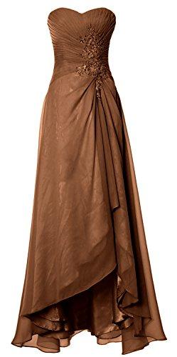 MACloth Women Long Hi Lo Wedding Bridesmaid Dress Sweetheart Formal Prom Gown Marrón