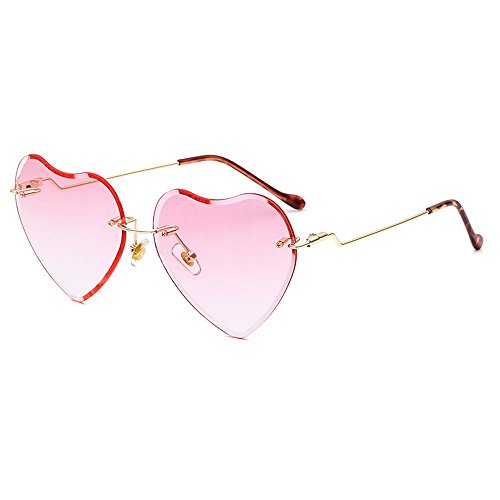 MINCL/2018 Hot Rimless Love Heart Shaped Sunglasses Womens Girls Metal Frame HD Lens UV400 (pink) by mincl (Image #2)'