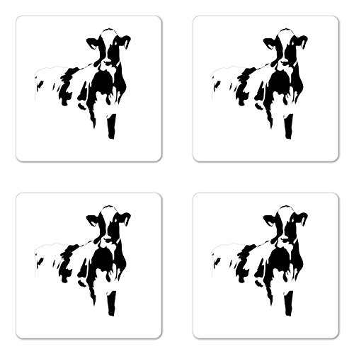 Lunarable Rustic Coaster Set of Four, Silhouette Portrait of a Cow Meat Milk Farm Animals Agriculture Themed Illustration, Square Hardboard Gloss Coasters for Drinks, Black White by Lunarable