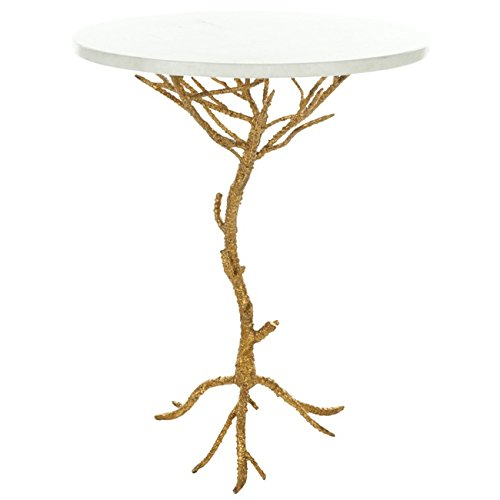 Safavieh Home Collection Anastasia Brass and Iron End Table, White/Gold Granite (Finish Gold Occasional Tables)