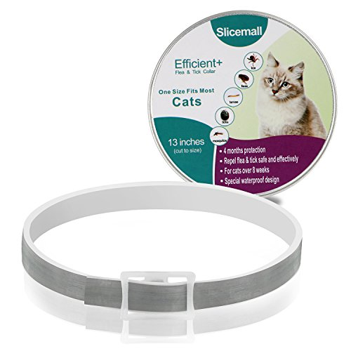 Slicemall Cat Flea Ticks Collar, Flea Treatment and Tick Prevention for Cats, Waterproof Grey Pet Collar(120 Days 13 Inches)