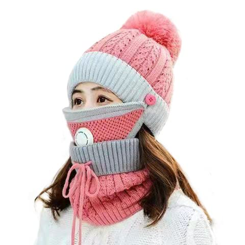 Warm Winter Beanie Hat,Women Winter Warm Knitted Hat Thickened Woolen Cap with Warm Mask and Neck Scarf, Knit Beanie Hat, Winter Scarf Mask Set,Warm Hat Earmuffs Cap with Pom