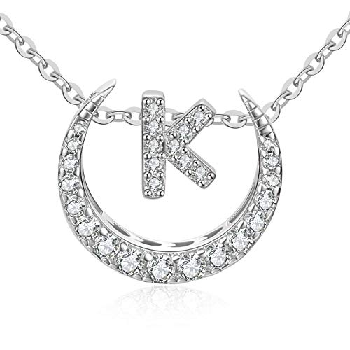 (OAKING Necklace for Women, S925 Sterling Silver Cubic Zirconia 26 Initial Letters Sterling Silver Pendant Necklace Gift Set (K))